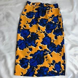 Blue & Gold floral skirt, Size 10